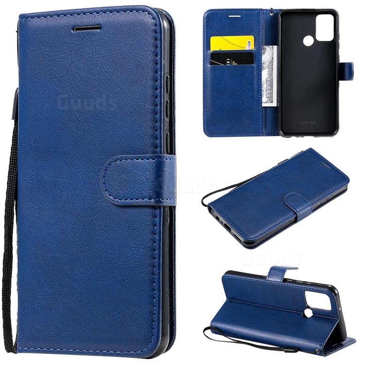 Retro Greek Classic Smooth PU Leather Wallet Phone Case for Huawei Honor 9A - Blue
