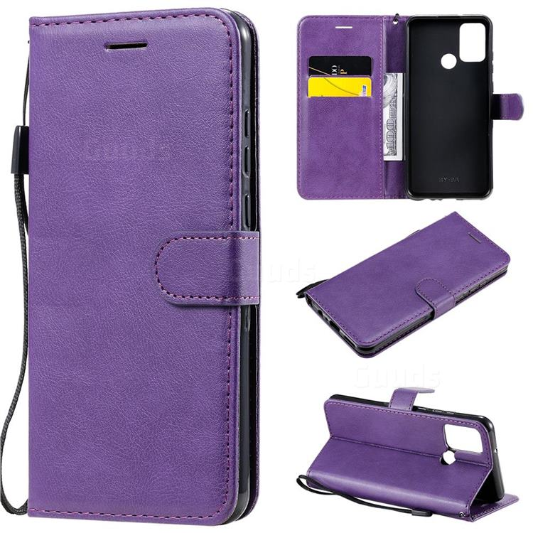 Retro Greek Classic Smooth PU Leather Wallet Phone Case for Huawei Honor 9A - Purple