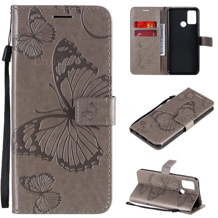 Embossing 3D Butterfly Leather Wallet Case for Huawei Honor 9A - Gray