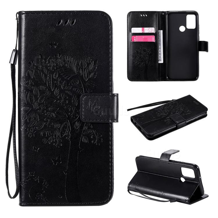 Embossing Butterfly Tree Leather Wallet Case for Huawei Honor 9A - Black