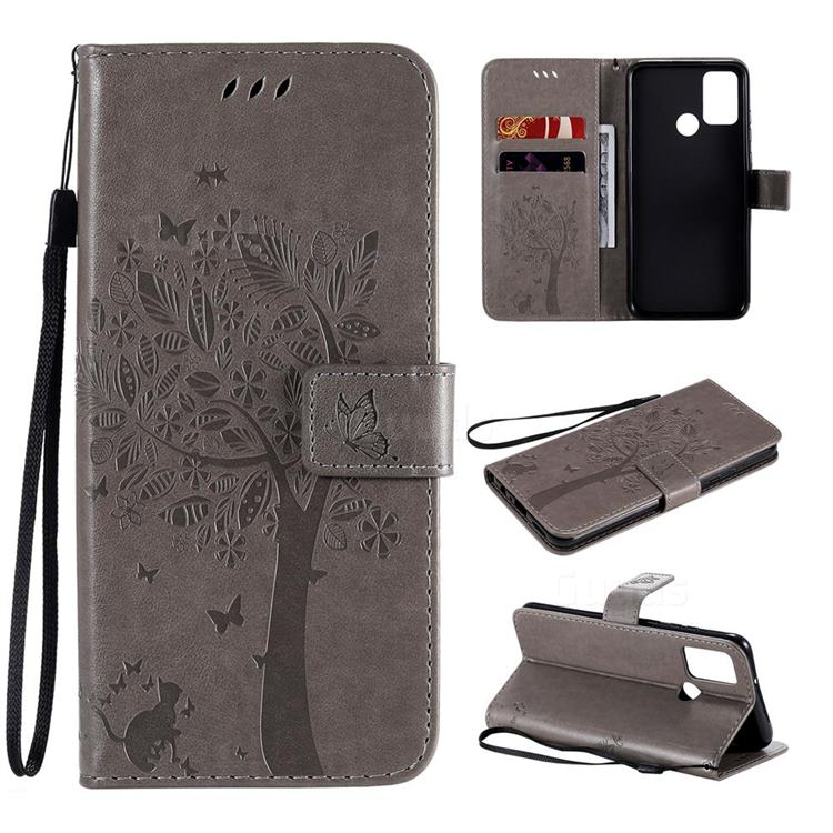 Embossing Butterfly Tree Leather Wallet Case for Huawei Honor 9A - Grey