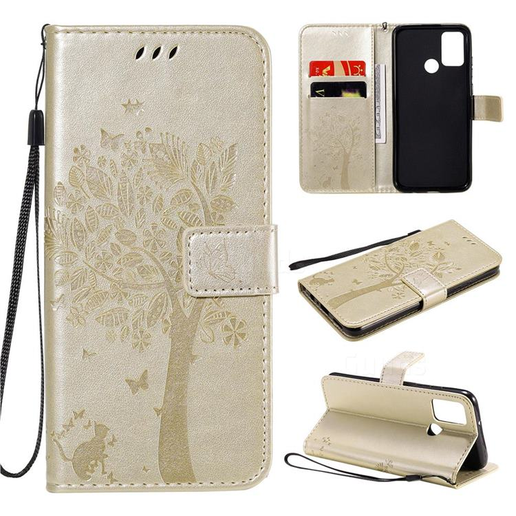 Embossing Butterfly Tree Leather Wallet Case for Huawei Honor 9A - Champagne