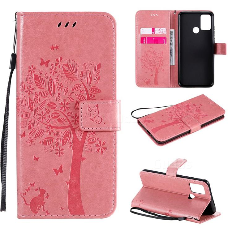 Embossing Butterfly Tree Leather Wallet Case for Huawei Honor 9A - Pink