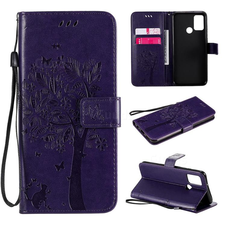 Embossing Butterfly Tree Leather Wallet Case for Huawei Honor 9A - Purple