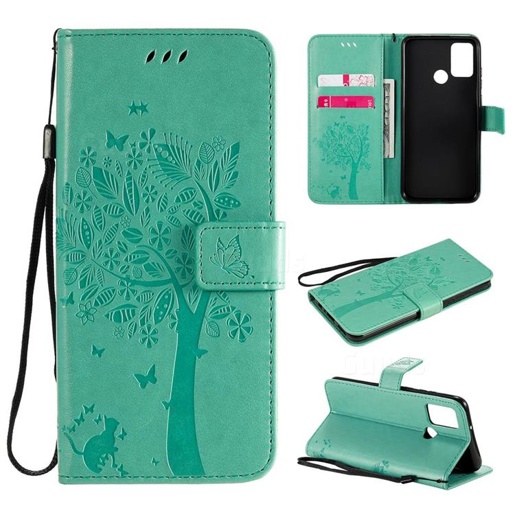 Embossing Butterfly Tree Leather Wallet Case for Huawei Honor 9A - Cyan