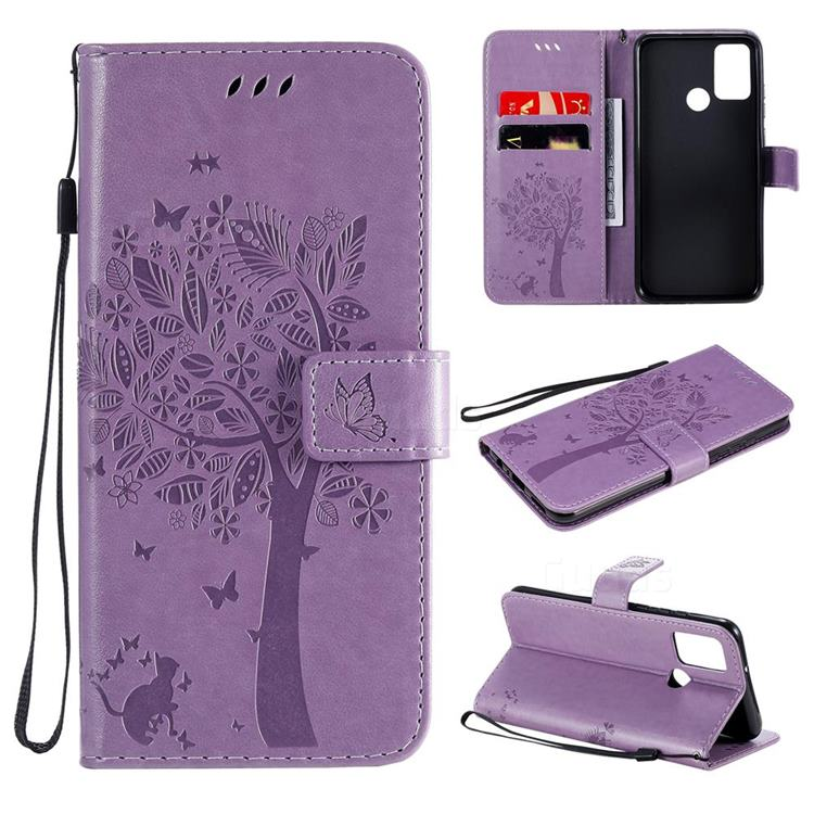 Embossing Butterfly Tree Leather Wallet Case for Huawei Honor 9A - Violet