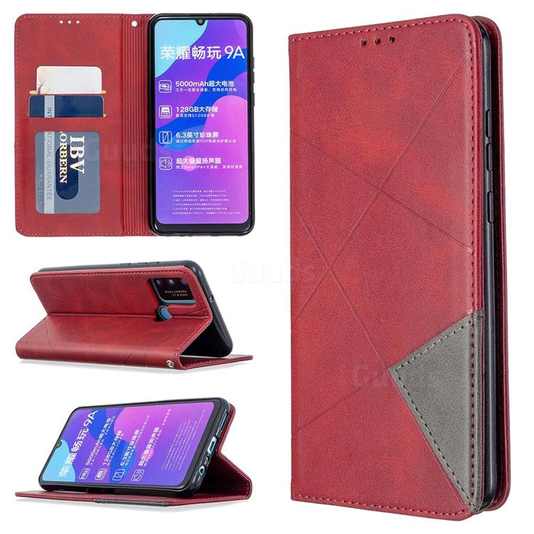 Prismatic Slim Magnetic Sucking Stitching Wallet Flip Cover for Huawei Honor 9A - Red