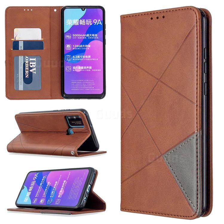 Prismatic Slim Magnetic Sucking Stitching Wallet Flip Cover for Huawei Honor 9A - Brown