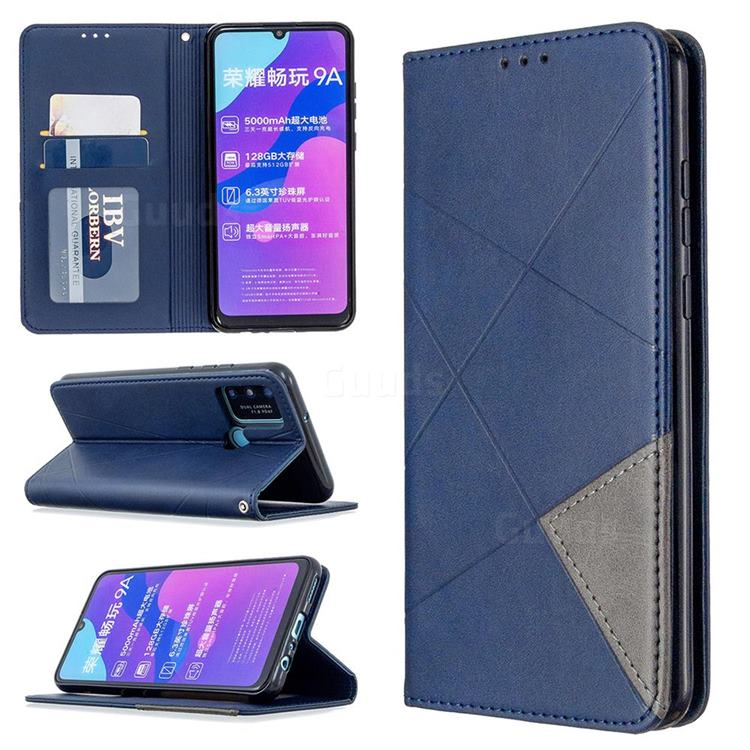 Prismatic Slim Magnetic Sucking Stitching Wallet Flip Cover for Huawei Honor 9A - Blue