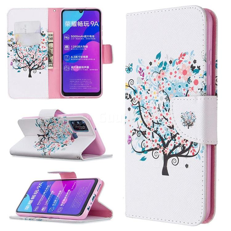 Colorful Tree Leather Wallet Case for Huawei Honor 9A