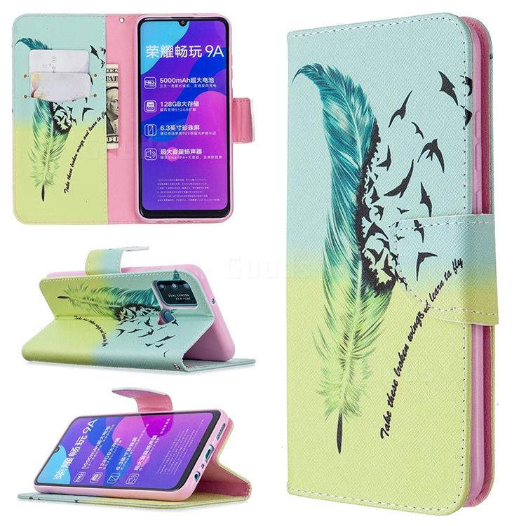 Feather Bird Leather Wallet Case for Huawei Honor 9A