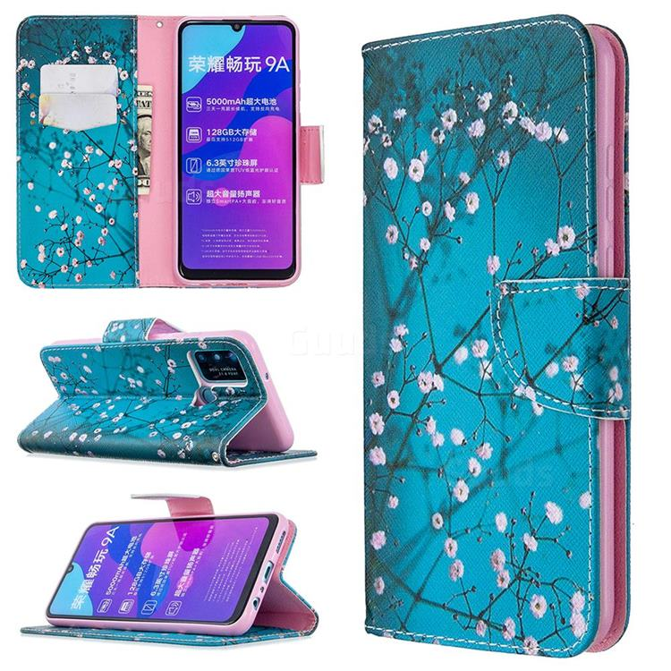 Blue Plum Leather Wallet Case for Huawei Honor 9A