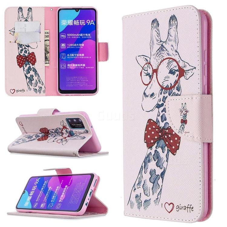 Glasses Giraffe Leather Wallet Case for Huawei Honor 9A