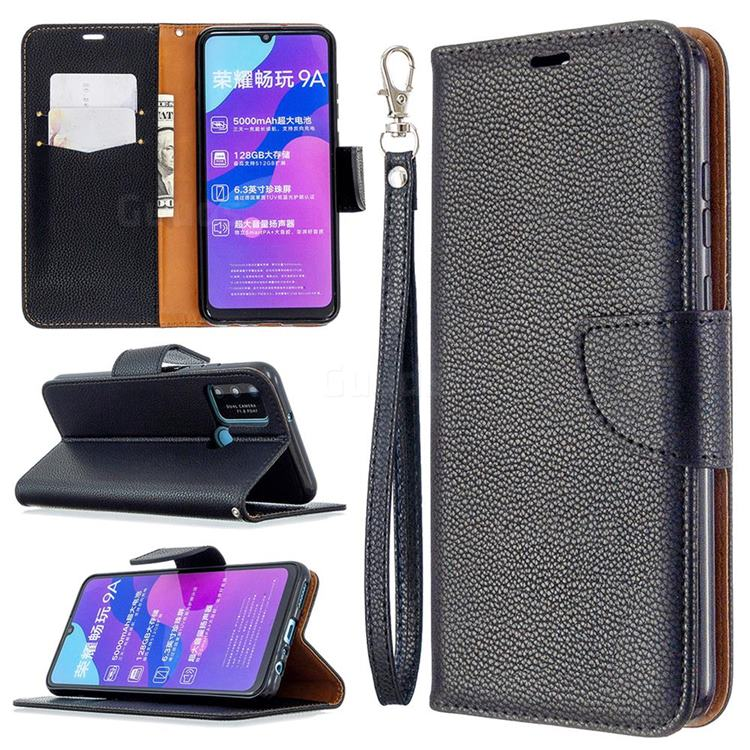 Classic Luxury Litchi Leather Phone Wallet Case for Huawei Honor 9A - Black