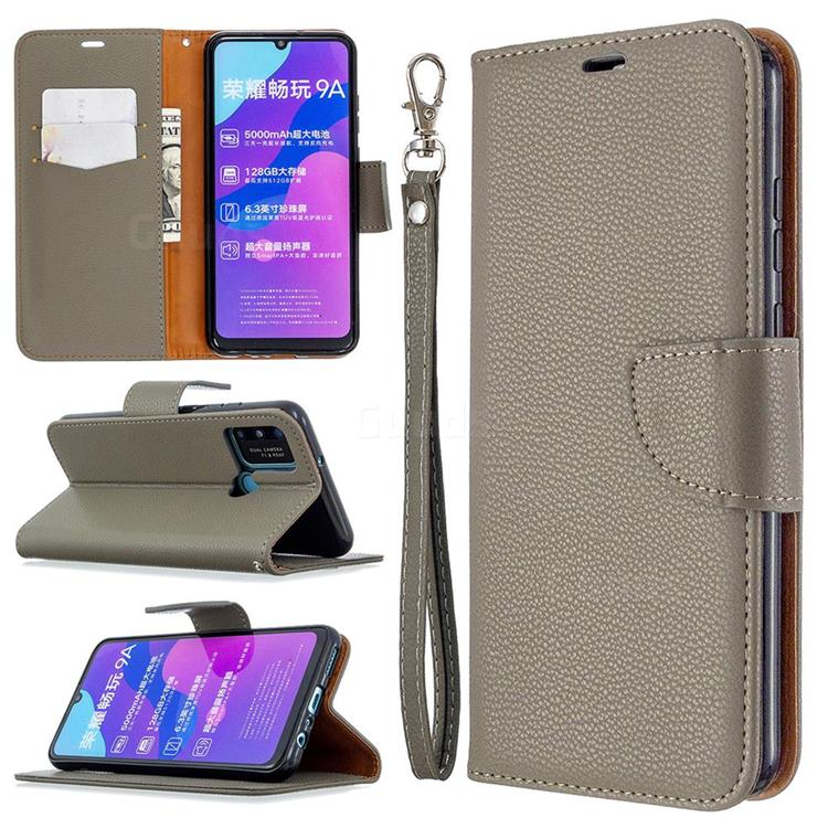 Classic Luxury Litchi Leather Phone Wallet Case for Huawei Honor 9A - Gray