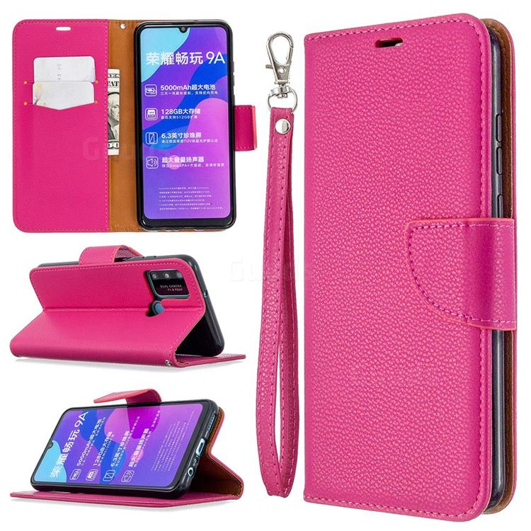 Classic Luxury Litchi Leather Phone Wallet Case for Huawei Honor 9A - Rose