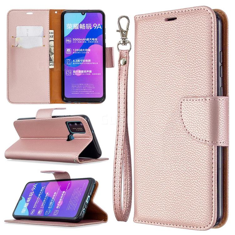 Classic Luxury Litchi Leather Phone Wallet Case for Huawei Honor 9A - Golden
