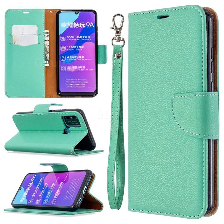 Classic Luxury Litchi Leather Phone Wallet Case for Huawei Honor 9A - Green