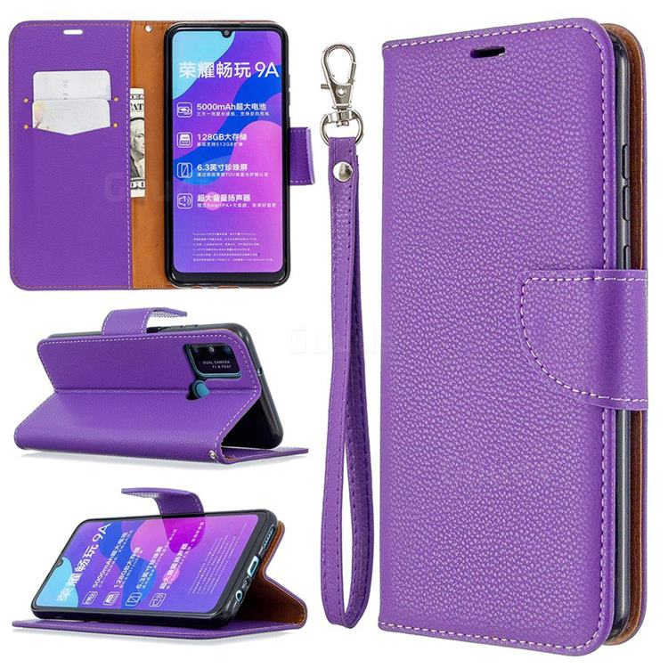 Classic Luxury Litchi Leather Phone Wallet Case for Huawei Honor 9A - Purple