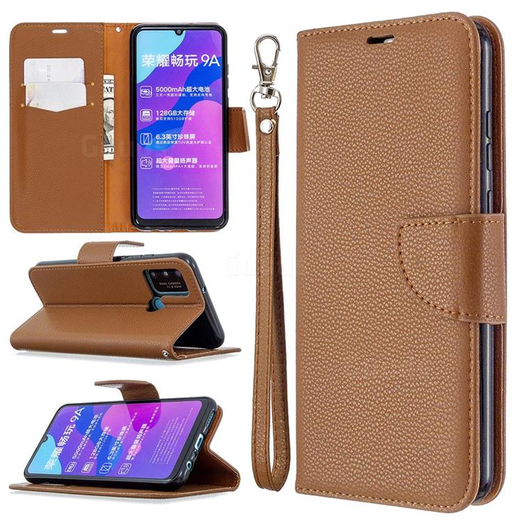 Classic Luxury Litchi Leather Phone Wallet Case for Huawei Honor 9A - Brown