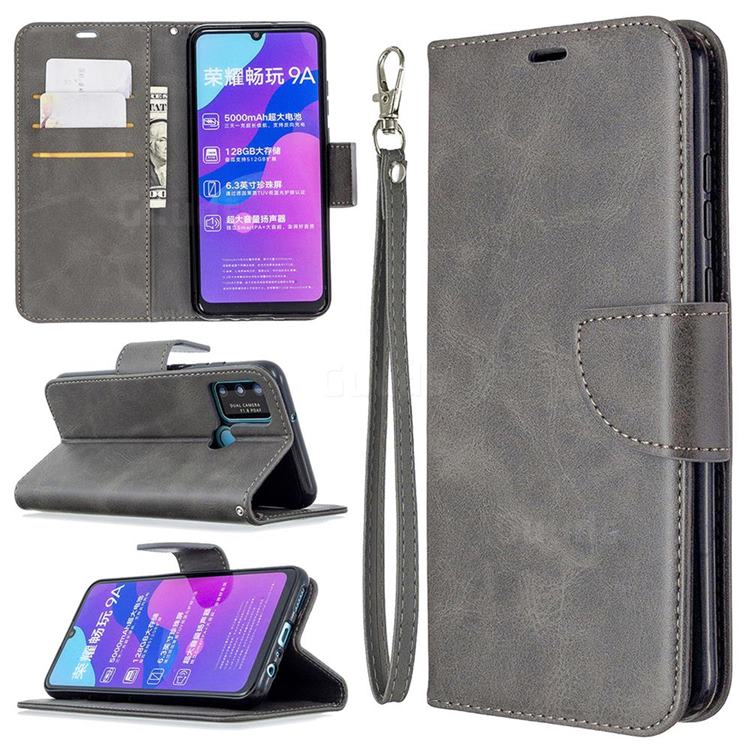 Classic Sheepskin PU Leather Phone Wallet Case for Huawei Honor 9A - Gray
