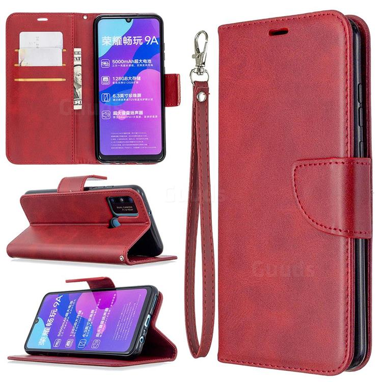 Classic Sheepskin PU Leather Phone Wallet Case for Huawei Honor 9A - Red