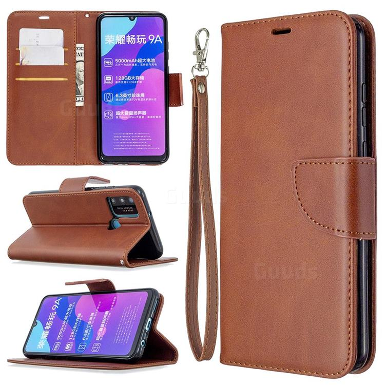 Classic Sheepskin PU Leather Phone Wallet Case for Huawei Honor 9A - Brown