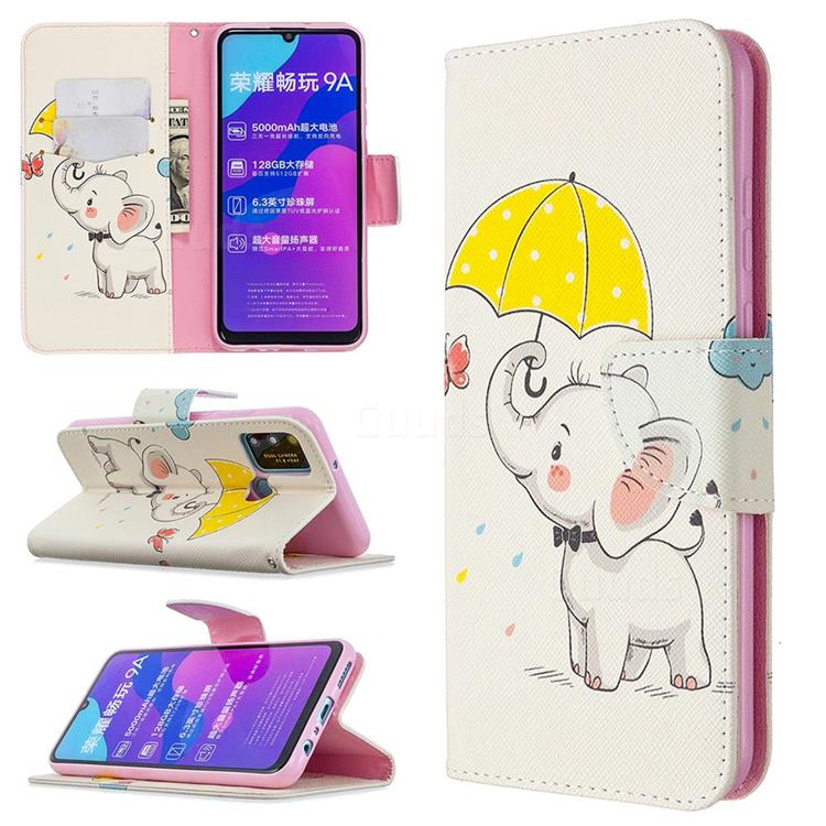 Umbrella Elephant Leather Wallet Case for Huawei Honor 9A