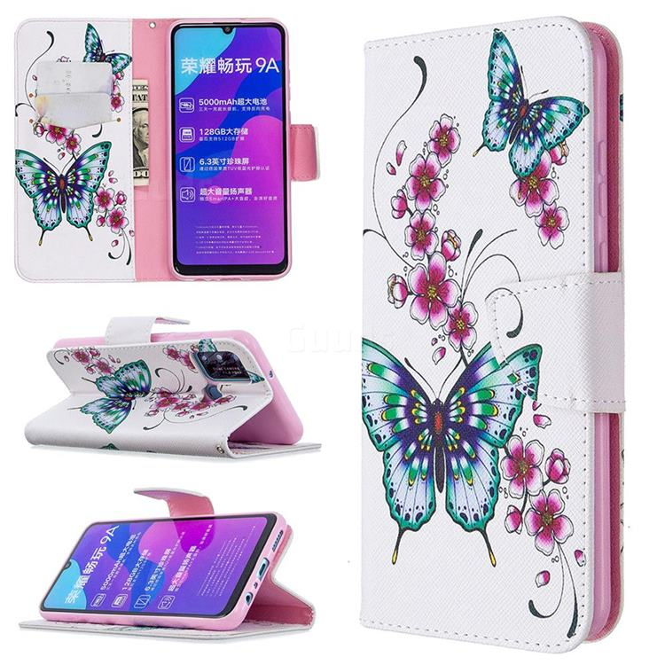 Peach Butterflies Leather Wallet Case for Huawei Honor 9A