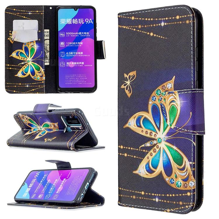 Golden Shining Butterfly Leather Wallet Case for Huawei Honor 9A