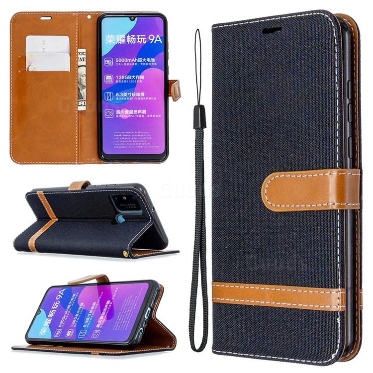 Jeans Cowboy Denim Leather Wallet Case for Huawei Honor 9A - Black