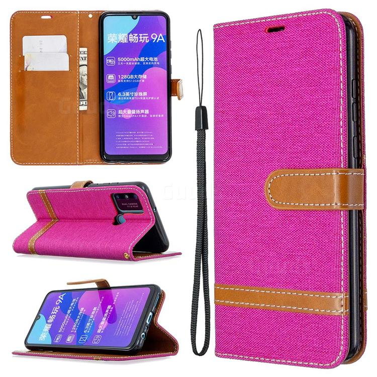 Jeans Cowboy Denim Leather Wallet Case for Huawei Honor 9A - Rose