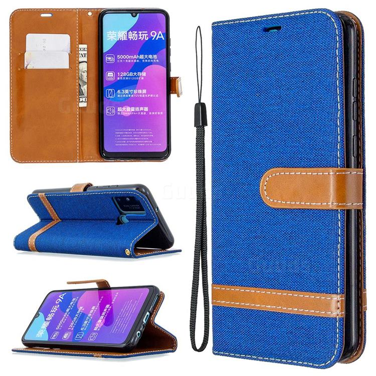 Jeans Cowboy Denim Leather Wallet Case for Huawei Honor 9A - Sapphire