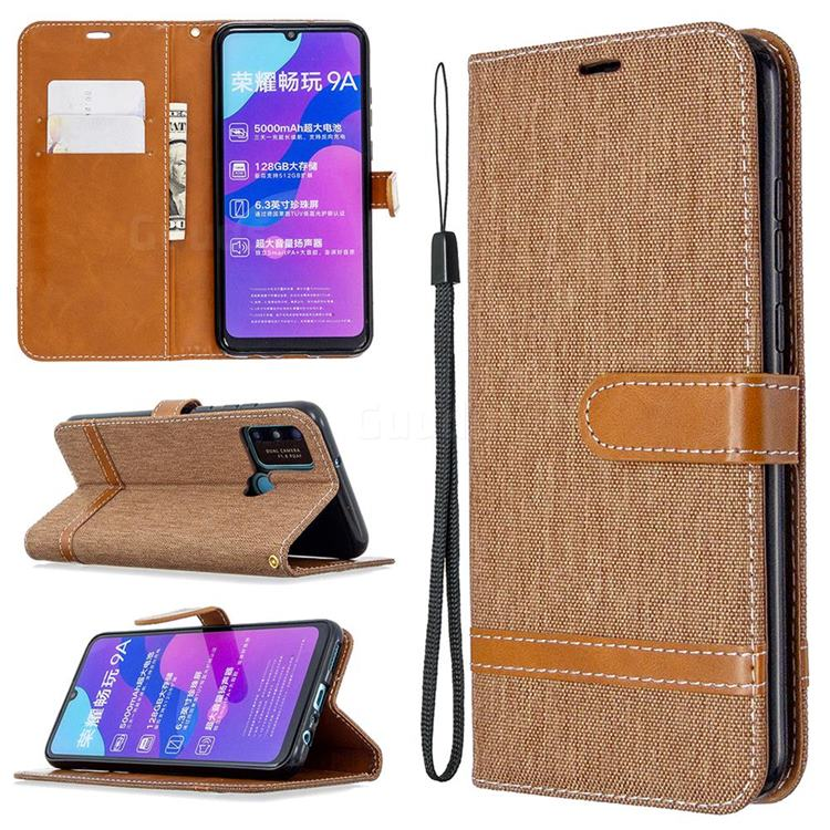 Jeans Cowboy Denim Leather Wallet Case for Huawei Honor 9A - Brown