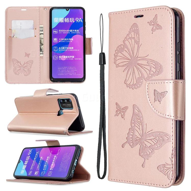 Embossing Double Butterfly Leather Wallet Case for Huawei Honor 9A - Rose Gold