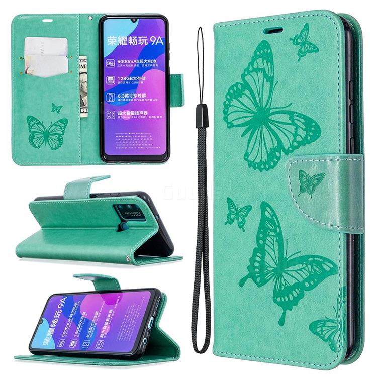 Embossing Double Butterfly Leather Wallet Case for Huawei Honor 9A - Green