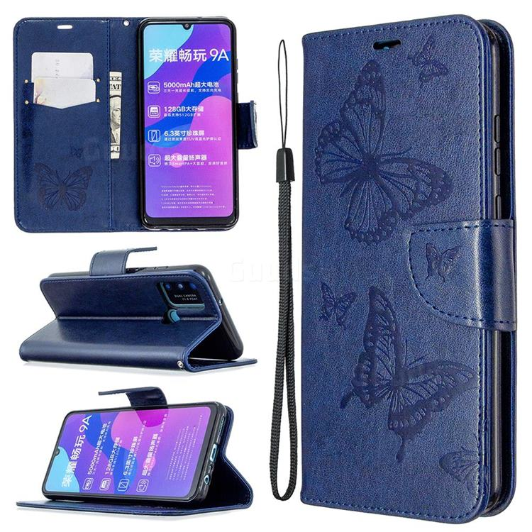 Embossing Double Butterfly Leather Wallet Case for Huawei Honor 9A - Dark Blue