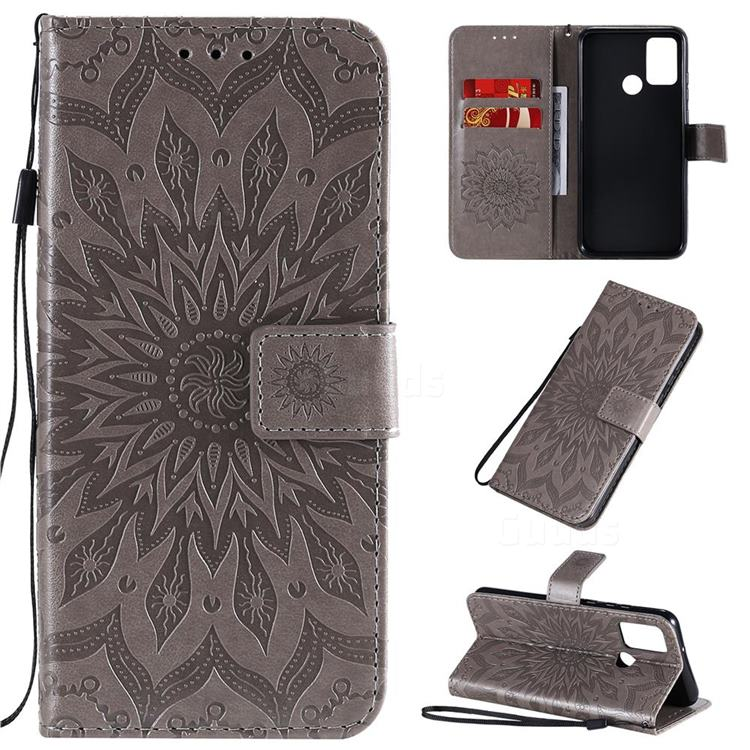 Embossing Sunflower Leather Wallet Case for Huawei Honor 9A - Gray