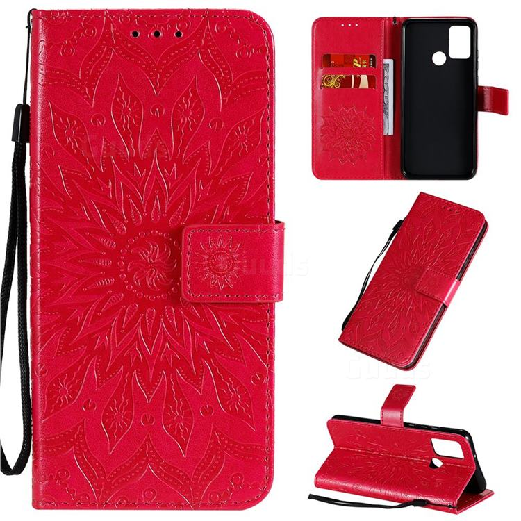 Embossing Sunflower Leather Wallet Case for Huawei Honor 9A - Red