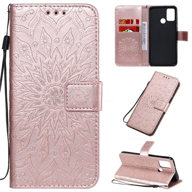 Embossing Sunflower Leather Wallet Case for Huawei Honor 9A - Rose Gold