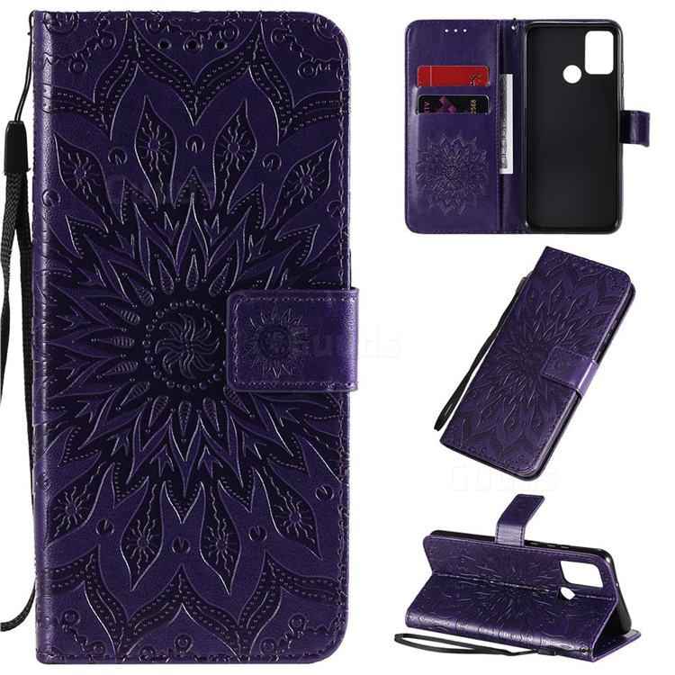 Embossing Sunflower Leather Wallet Case for Huawei Honor 9A - Purple
