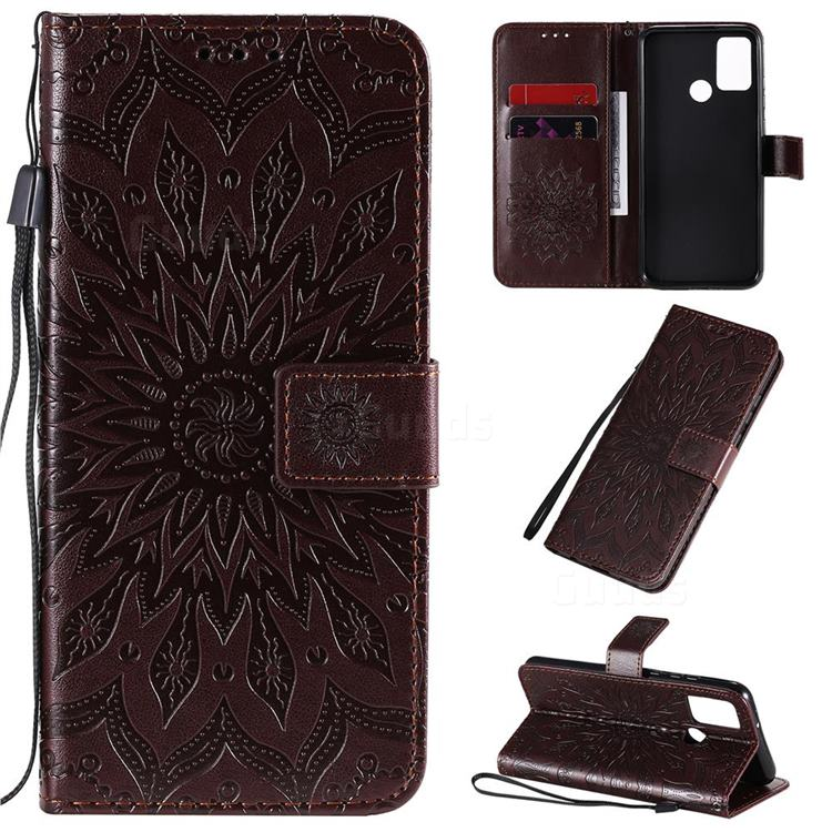 Embossing Sunflower Leather Wallet Case for Huawei Honor 9A - Brown