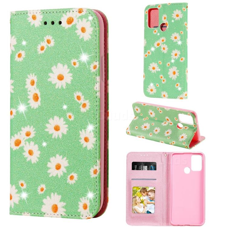 Ultra Slim Daisy Sparkle Glitter Powder Magnetic Leather Wallet Case for Huawei Honor 9A - Green