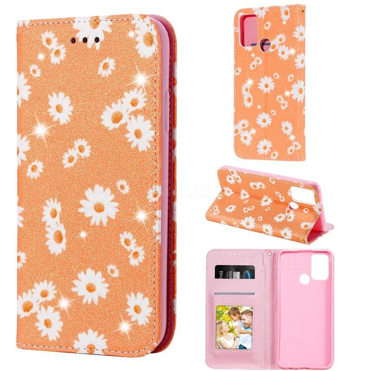 Ultra Slim Daisy Sparkle Glitter Powder Magnetic Leather Wallet Case for Huawei Honor 9A - Orange