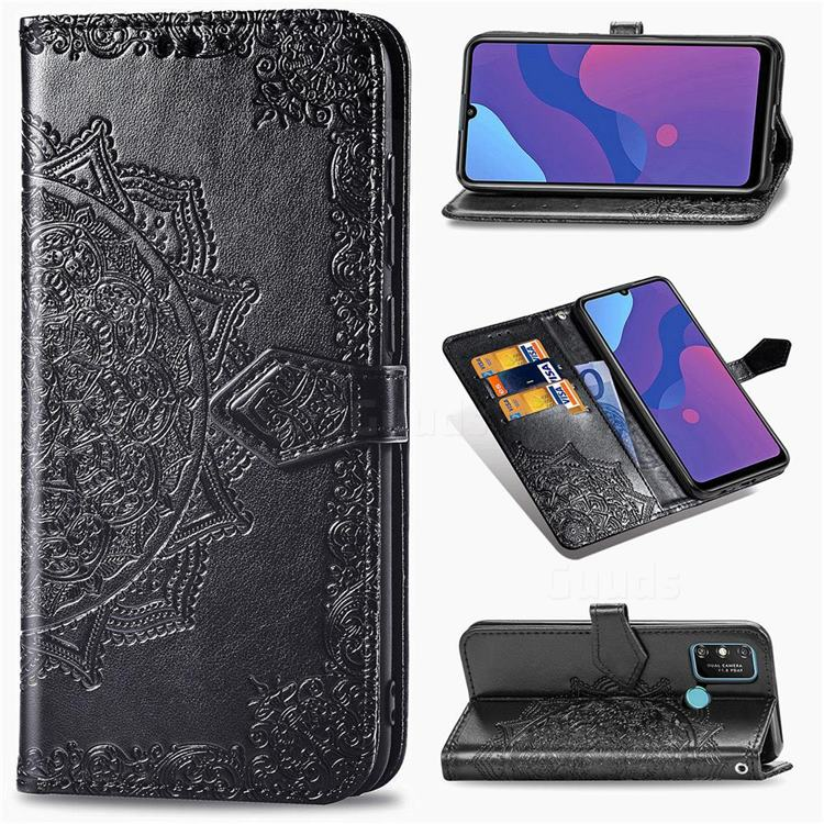 Embossing Imprint Mandala Flower Leather Wallet Case for Huawei Honor 9A - Black