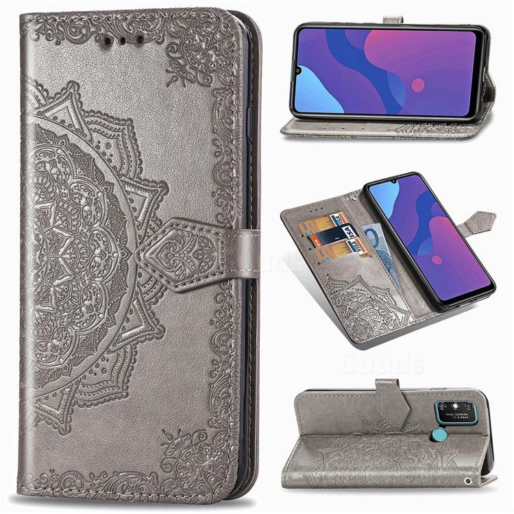 Embossing Imprint Mandala Flower Leather Wallet Case for Huawei Honor 9A - Gray