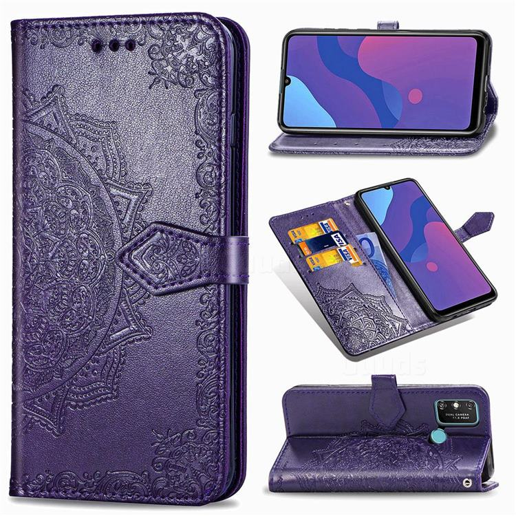 Embossing Imprint Mandala Flower Leather Wallet Case for Huawei Honor 9A - Purple