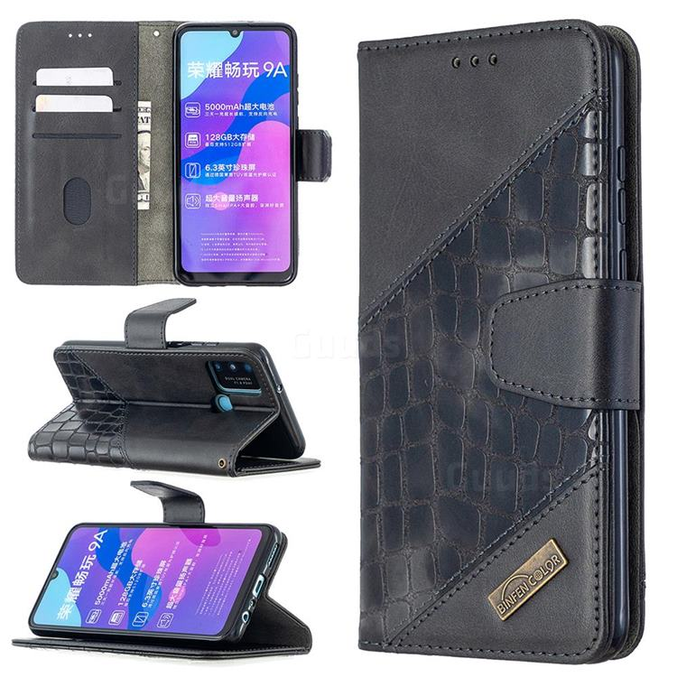 BinfenColor BF04 Color Block Stitching Crocodile Leather Case Cover for Huawei Honor 9A - Black