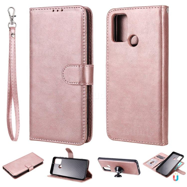 Retro Greek Detachable Magnetic PU Leather Wallet Phone Case for Huawei Honor 9A - Rose Gold