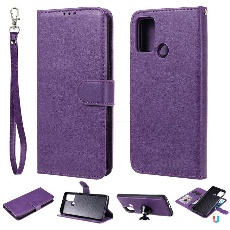 Retro Greek Detachable Magnetic PU Leather Wallet Phone Case for Huawei Honor 9A - Purple